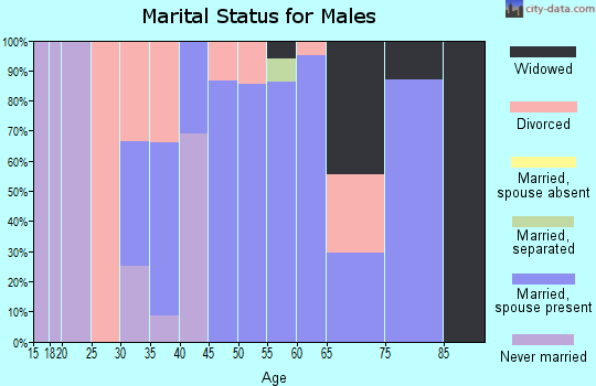 Zip code 75421 marital status for males