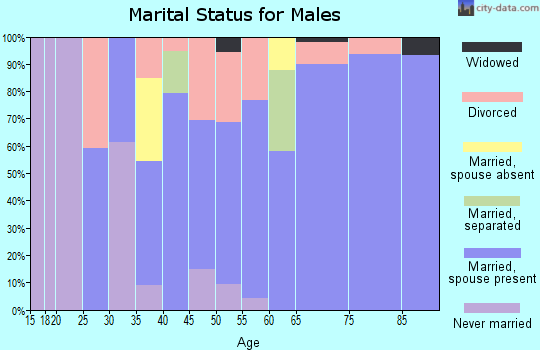 Zip code 75497 marital status for males