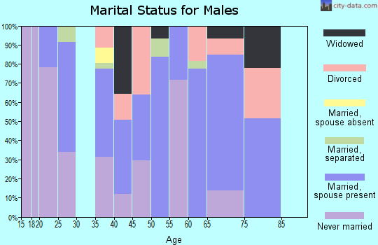 Zip code 75974 marital status for males