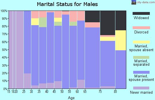 Zip code 76043 marital status for males