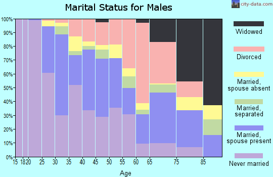 Zip code 76104 marital status for males