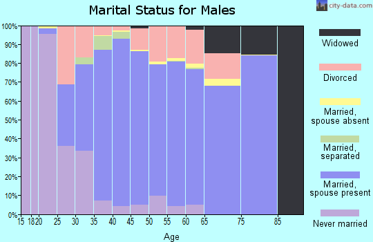 Zip code 76262 marital status for males