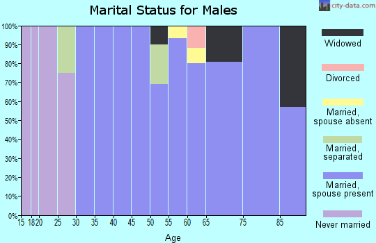 Zip code 76357 marital status for males