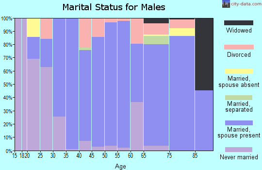 Zip code 76657 marital status for males