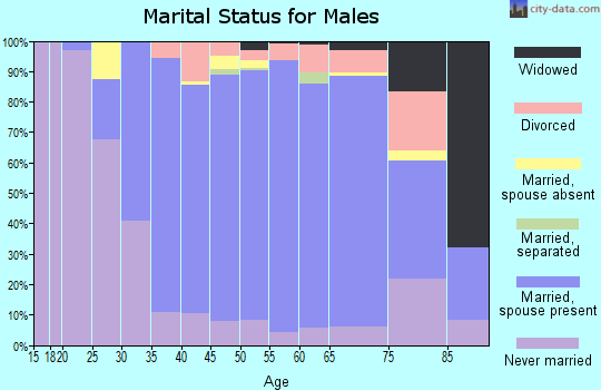Zip code 77005 marital status for males