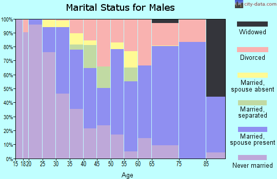 Zip code 77042 marital status for males