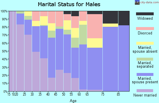 Zip code 77061 marital status for males