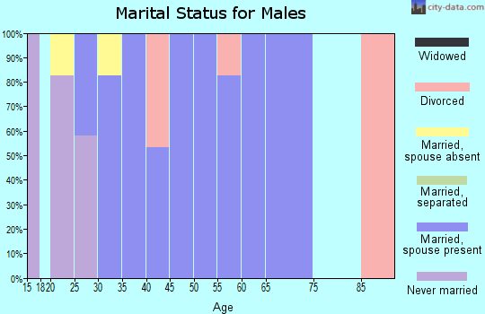 Zip code 77519 marital status for males
