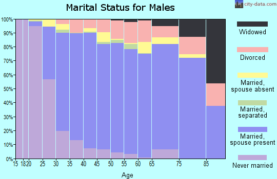 Zip code 80015 marital status for males
