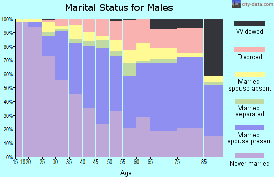 Zip code 90016 marital status for males