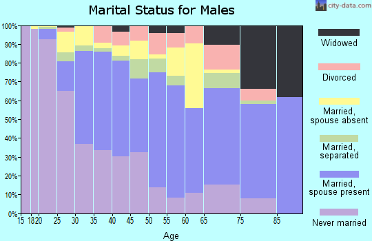 Zip code 90222 marital status for males