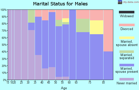 Zip code 90290 marital status for males