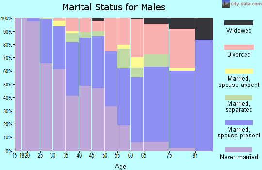 Zip code 90292 marital status for males