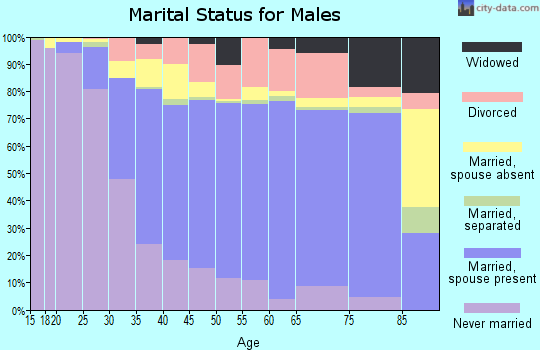 Zip code 90621 marital status for males