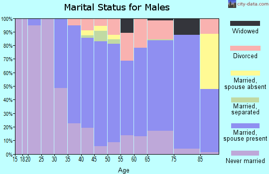 Zip code 91024 marital status for males