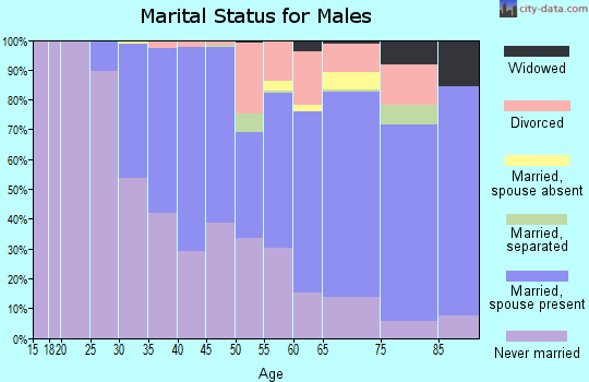 Zip code 91105 marital status for males