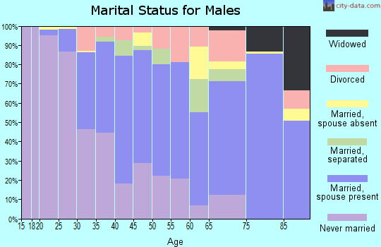 Zip code 91106 marital status for males