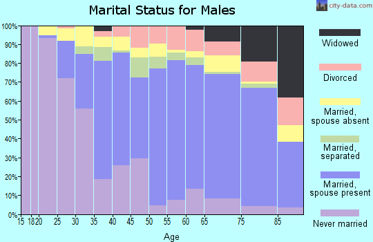 Zip code 91345 marital status for males