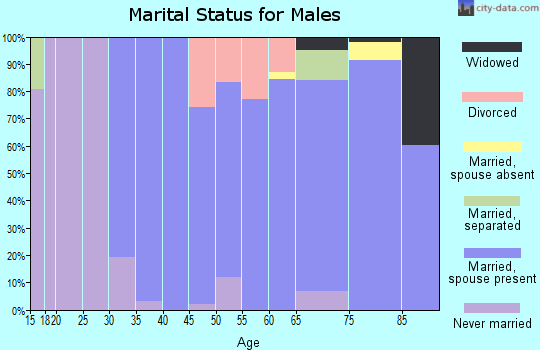 Zip code 92342 marital status for males