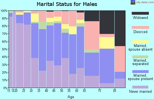 Zip code 92411 marital status for males