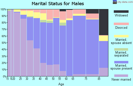 Zip code 92869 marital status for males