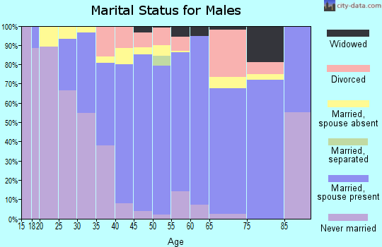 Zip code 93015 marital status for males