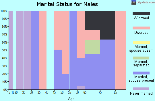 Zip code 93205 marital status for males