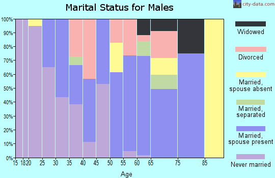 Zip code 93206 marital status for males