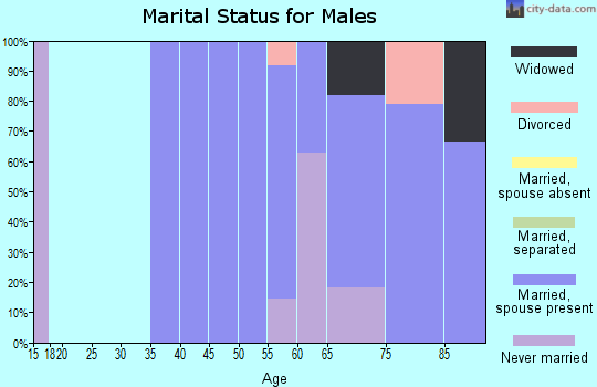 Zip code 93238 marital status for males