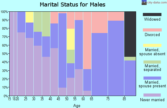 Zip code 93591 marital status for males