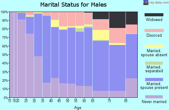 Zip code 94061 marital status for males