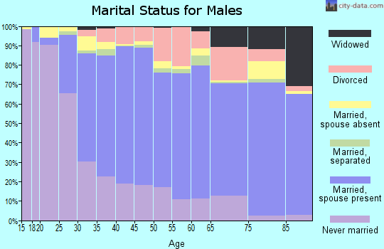 Zip code 95125 marital status for males