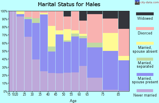 Zip code 95422 marital status for males