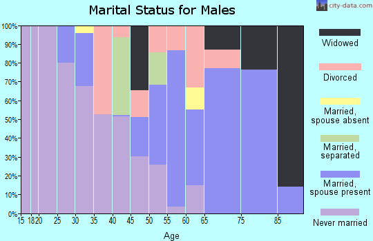 Zip code 95423 marital status for males