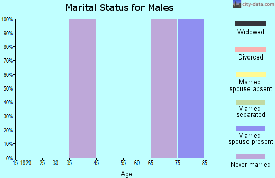 Zip code 95424 marital status for males