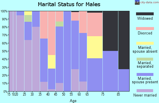 Zip code 95551 marital status for males