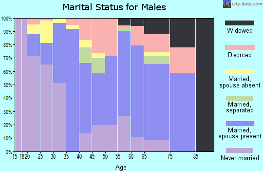 Zip code 95605 marital status for males