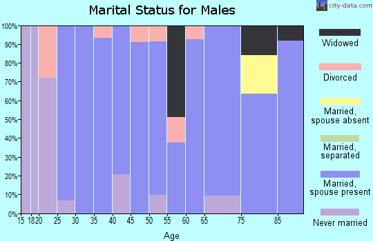 Zip code 95614 marital status for males