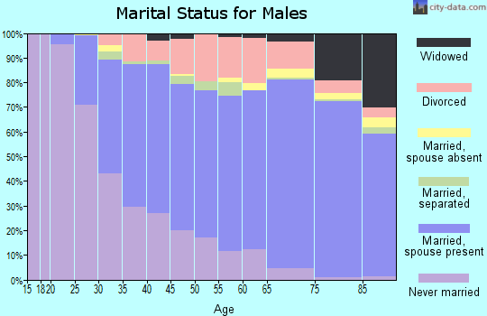 Zip code 95831 marital status for males