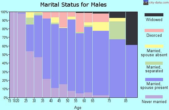 Zip code 95835 marital status for males