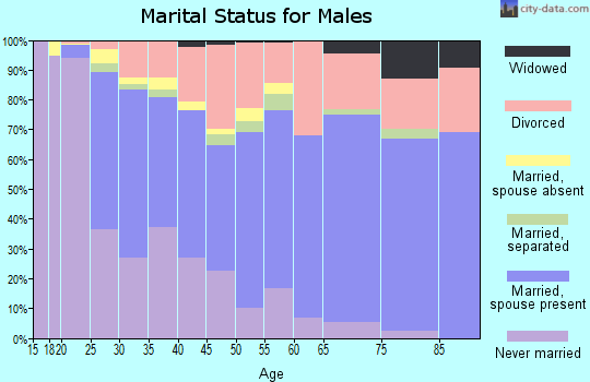 Zip code 95842 marital status for males