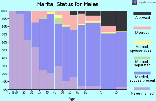 Zip code 95864 marital status for males