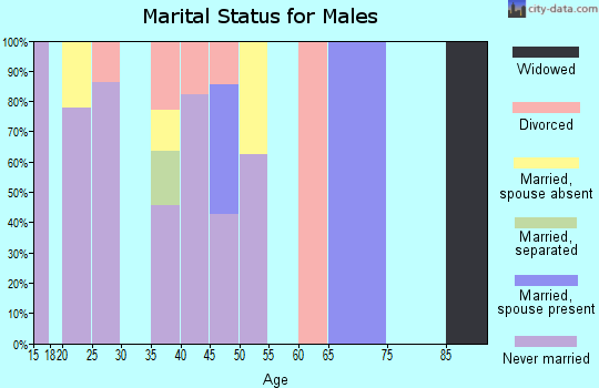 Zip code 96068 marital status for males