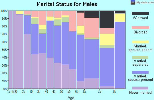 Zip code 97005 marital status for males