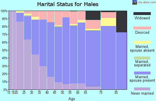 Zip code 97035 marital status for males