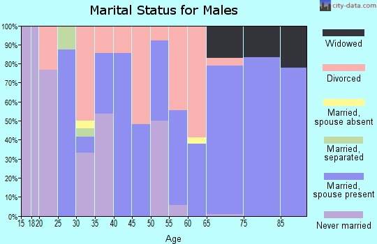 Zip code 97820 marital status for males
