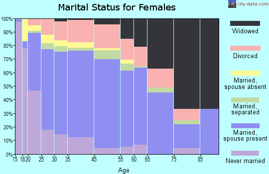 Zip code 00735 marital status for females