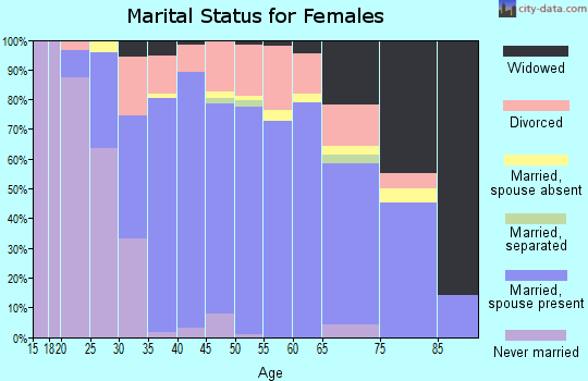 Zip code 03076 marital status for females