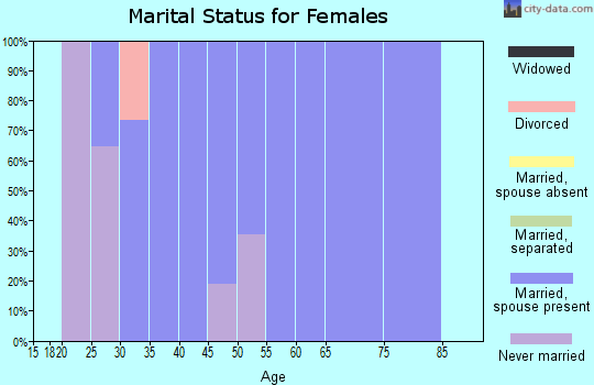 Zip code 03218 marital status for females