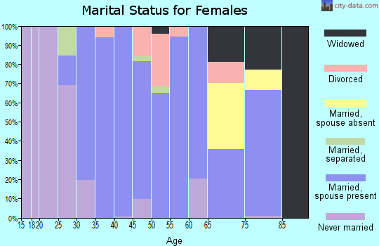 Zip code 03819 marital status for females
